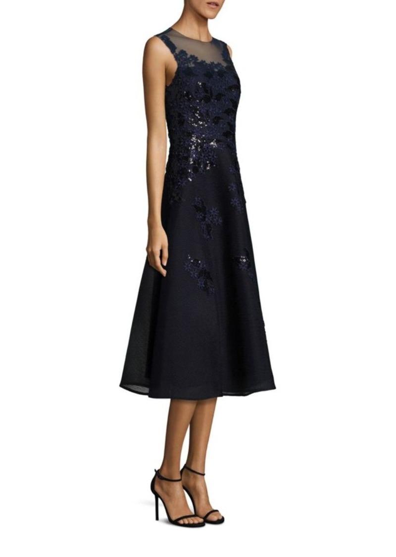 1843f5ae2e4 Teri Jon Teri Jon by Rickie Freeman Sequined Applique Lace Dress