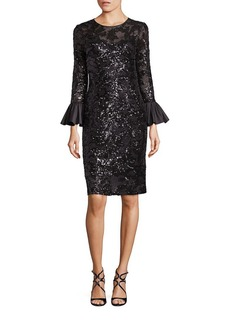 Teri Jon Sequined Bell Sleeve Sheath Dress