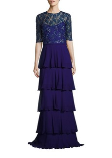 Teri Jon by Rickie Freeman Sequined Tiered Gown