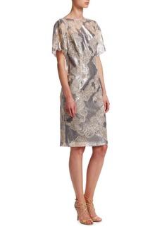 Teri Jon Short-Sleeve Sequin Lace Dress