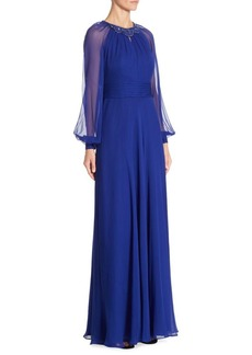 Teri Jon Silk Chiffon Dress