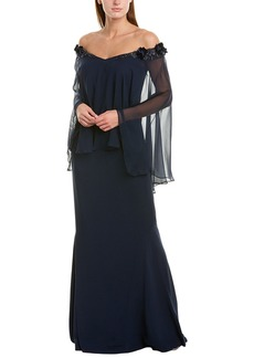 Teri Jon By Rickie Freeman Silk-Trim Gown