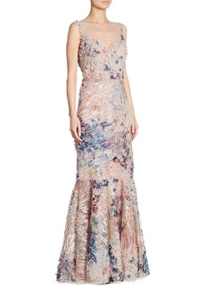 Teri Jon by Rickie Freeman Sleeveless 3-D Floral Lace Gown