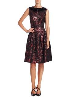 Teri Jon by Rickie Freeman Velvet Applique A-Line Dress