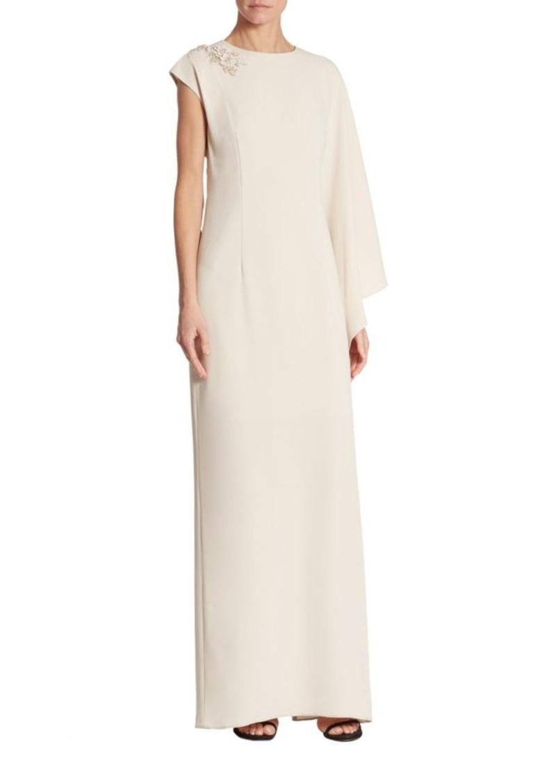 Teri Jon Teri Jon by Rickie Freeman Solid One-Shoulder Cape Gown