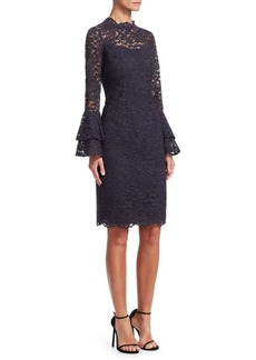 Teri Jon Tiered Bell-Sleeve Lace Sheath Dress