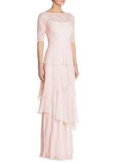 Teri Jon by Rickie Freeman Tiered Lace & Chiffon Gown