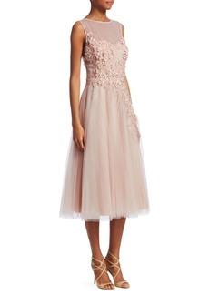 Teri Jon Tulle Appliqué A-Line Dress