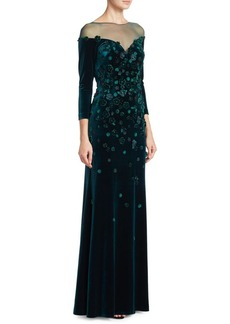 Teri Jon by Rickie Freeman Velvet Floral Illusion Gown