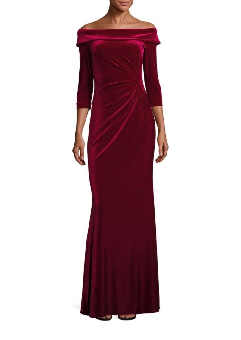 Teri Jon by Rickie Freeman Velvet Off-The-Shoulder Gown
