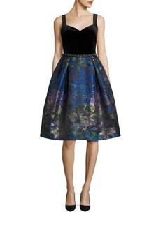 Teri Jon by Rickie Freeman Velvet Top Print Dress
