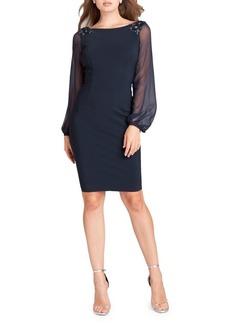 Teri Jon Embellished Chiffon & Scuba-Knit Sheath Dress