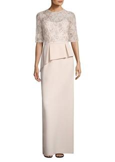 Teri Jon Embellished Lace Peplum Gown