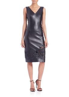 Teri Jon Embroidered Faux Leather Sheath Dress