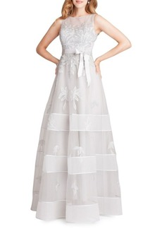 Teri Jon Embroidered Floral Tulle Gown