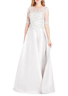 Teri Jon Floral-Applique Embellished Gown