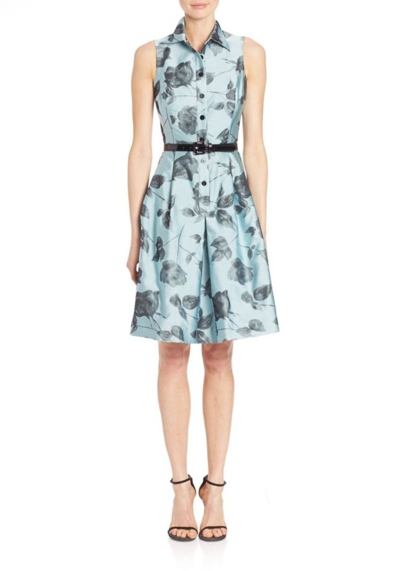 Teri Jon by Rickie Freeman Floral Sleeveless Shirt Dress