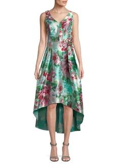 Teri Jon Foral V-neck Hi-Lo Dress