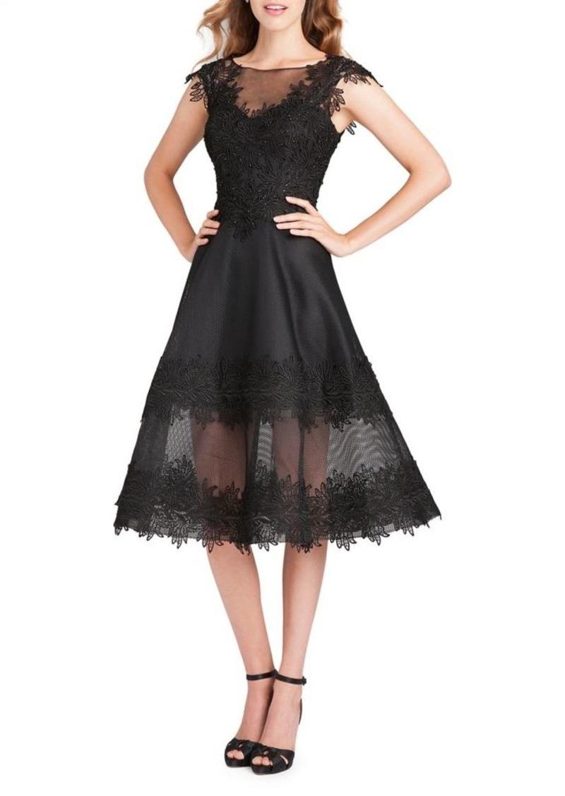 5d8804c3624 Teri Jon Teri Jon Illusion Cap-Sleeve Fit- -Flare Dress