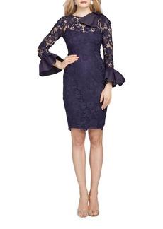 Teri Jon Lace Bell-Sleeve Cocktail Dress