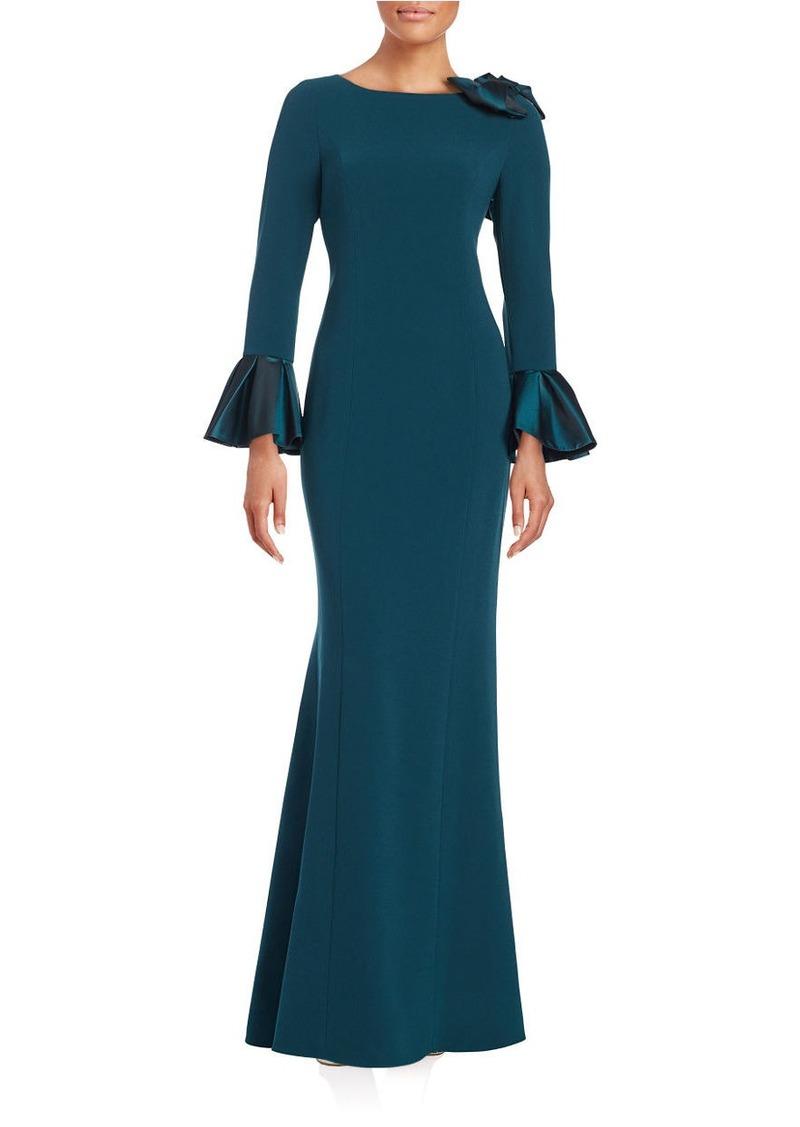 TERI JON Long Sleeve Bow-Shoulder Crepe Gown