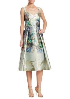 Teri Jon Metallic Floral Cocktail Dress