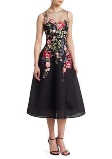Teri Jon Neoprene Floral Applique Dress