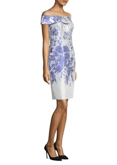 Teri Jon Off-The-Shoulder Floral-Print Dress