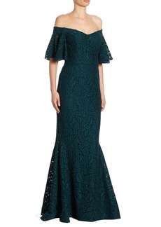 Teri Jon Off-the-Shoulder Lace Gown