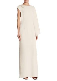 Teri Jon One-Shoulder Cape Gown