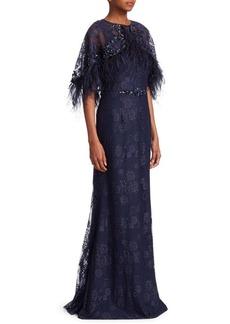 Teri Jon Popover Feather Mermaid Gown