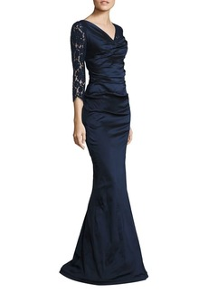 Teri Jon Ruched Lace Gown