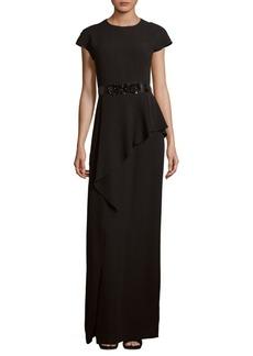 Teri Jon Ruffle-Trim Floor-Length Gown