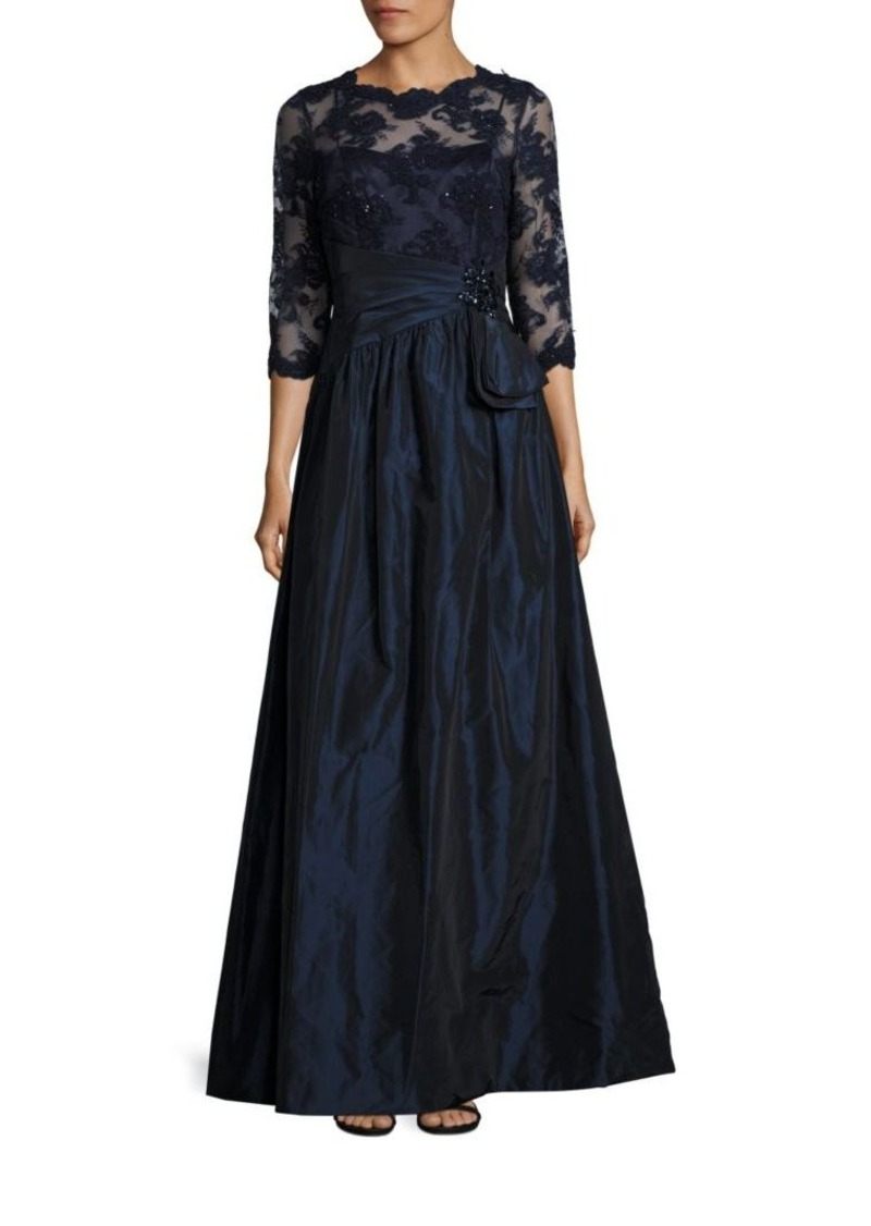Teri Jon Sequined Floral Lace Gown