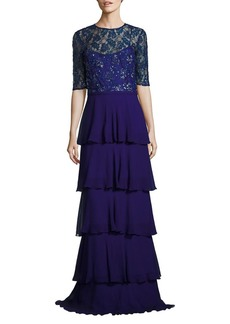 Teri Jon Sequined Tiered Gown