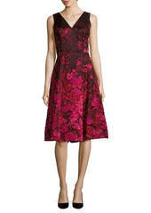 Teri Jon Textured Floral Dress
