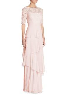 Teri Jon Tiered Lace Chiffon Gown