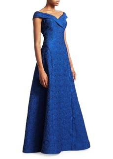 Teri Jon Off-The-Shoulder Jacquard Ball Gown