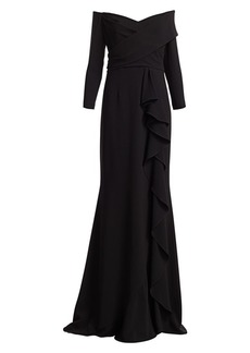 Teri Jon Three-Quarter Crepe Ruffle Column Gown