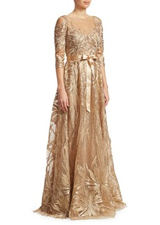 Teri Jon Three-Quarter Sleeve Embroidered Sequined Gown