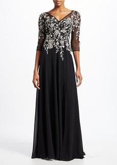 Teri Jon Three-Quarter Sleeve Floral Embellished Gown