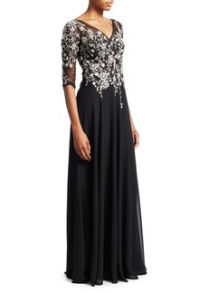 Teri Jon Three-Quarter Sleeve Floral Embellished Gown