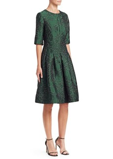 Teri Jon Three-Quarter Sleeve Jacquard Cocktail Dress