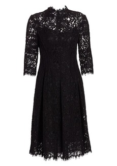 Teri Jon Three-Quarter Sleeve Lace Flare Dress