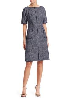 Teri Jon Tweed Pearl-Trimmed A-Line Dress