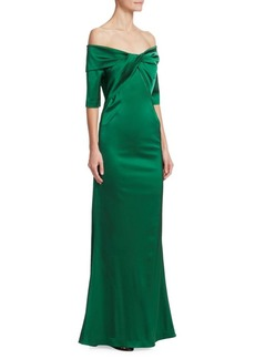 Teri Jon Twist Knot Satin Off-The-Shoulder Gown