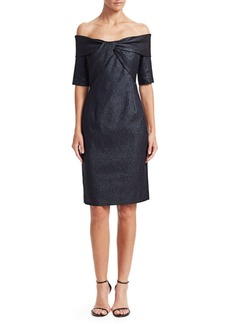 Teri Jon Twisted Bodice Off-The-Shoulder Cocktail Dress