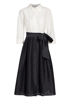 Teri Jon Two-Tone Lace-Eyelet Belted A-Line Shirtdress