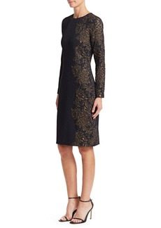 Teri Jon Two-Way Stretch Knit Jaquard Sheath Dress