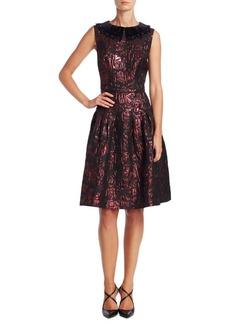Teri Jon Velvet Applique A-Line Dress